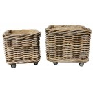 Square Log Basket with Wheels
