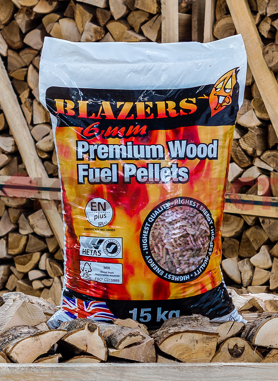 Wood Pellets - Handy 15kg Bag of Blazers Wood Pellets
